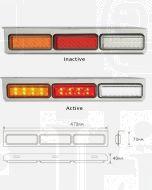 LED Autolamps 135CARWML Stop/Tail/ Indicator/ Reverse Combination Lamp - Chrome (LHS Bulk Box)