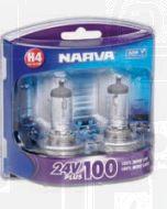 Narva 48874BL2 Narva 48874BL Halogen H4 Globe 24V 75/70W 24V Plus 100 Long Life P43t (Blister Pack of 2)