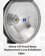 Replacement lens and reflector to suit Narva Ultima 175