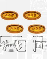 Hella 2034SET LED Side Marker - Amber, 12V DC (Bulk pack of 4)