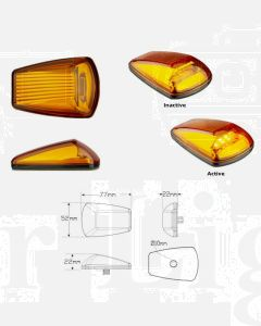 LED Autolamps 77AM2 9-32V Amber Side Direction Indicator