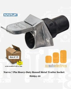 Narva 82094-20 7 Pin Heavy-Duty Round Metal Trailer Socket with Rubber Boot (Bulk Pack of 20)