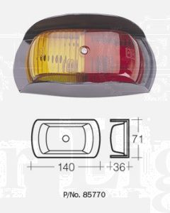Narva 85770BL 12V Side Marker Lamp (Red/Amber) with Metal Safety-Guard Bracket (Blister Pack)