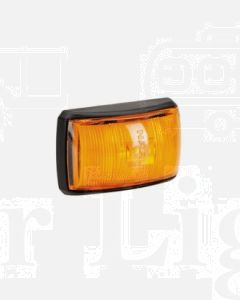 Narva 91422BL 10-33 Volt L.E.D Side Marker, External Cabin or Front End Outline Marker Lamp (Amber) with Black Deflector Base and 0.5m Cable (Blister Pack)
